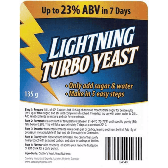 TURBO YEASTS - Lightning Turbo Yeast