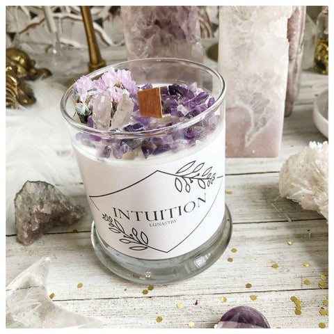 Intuitions soy wax candle topped with amethyst chips