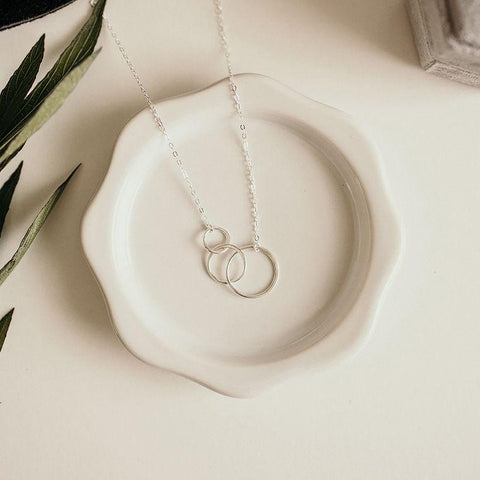 Sterling Silver Three Circle Necklace Regular price handmade jewelry women's accessories