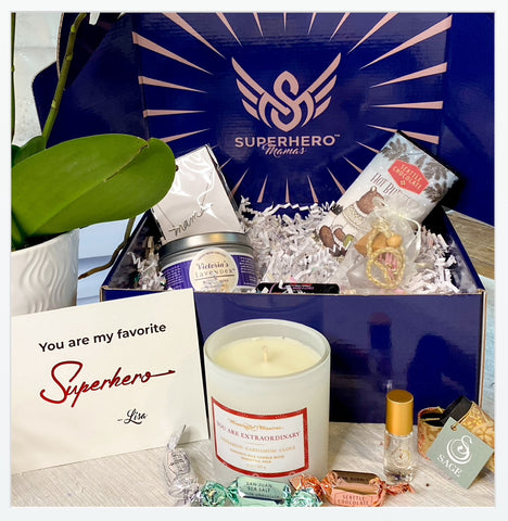 Superhero mama gift box. Gift for her. Candles, bath & body products, jewelry, necklace, chocolate