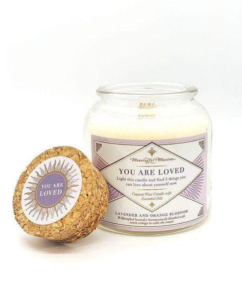 you are loved meaningful mantra candle. daily affirmation gifts for her