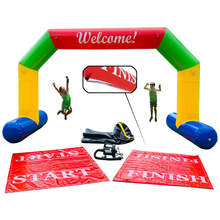 Load image into Gallery viewer, Inflatable Arch (welcome) with interchangeable banners - Start & Finish (6m wide x 3.5m tall)