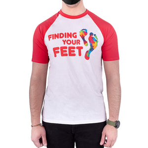 finding your feet foot soldier ringer tee red