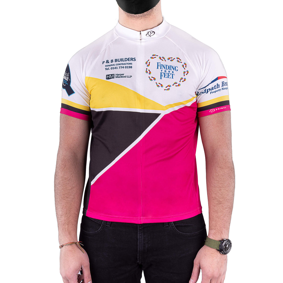 finding your feet cycle top - pink black and yellow