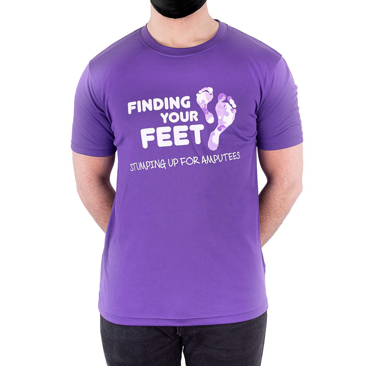 finding your feet purple stumping up t-shirt