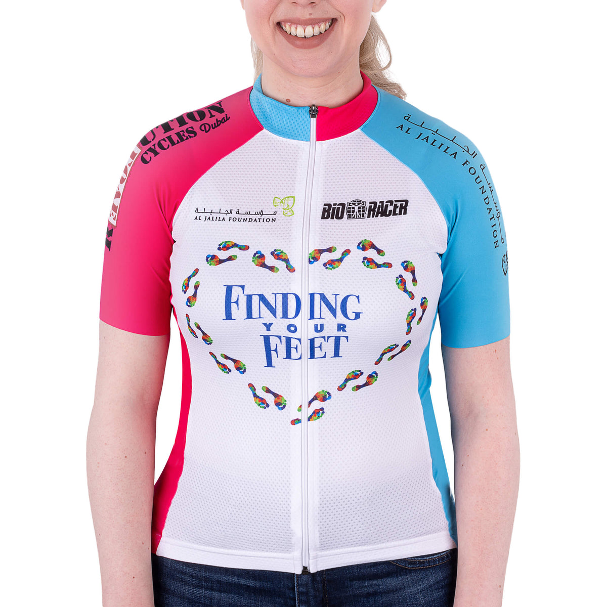 finding your feet cycle top - pink and blue
