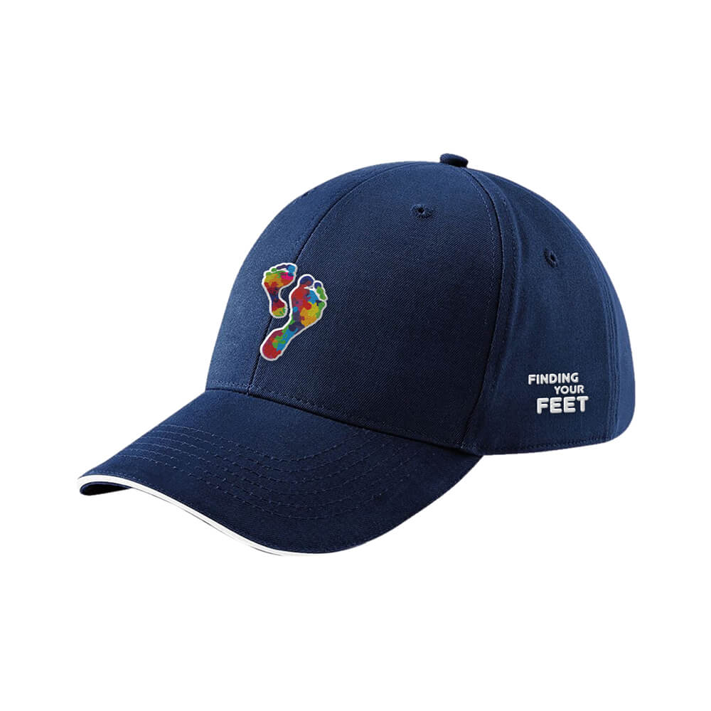 finding your feet embroidered baseball cap navy