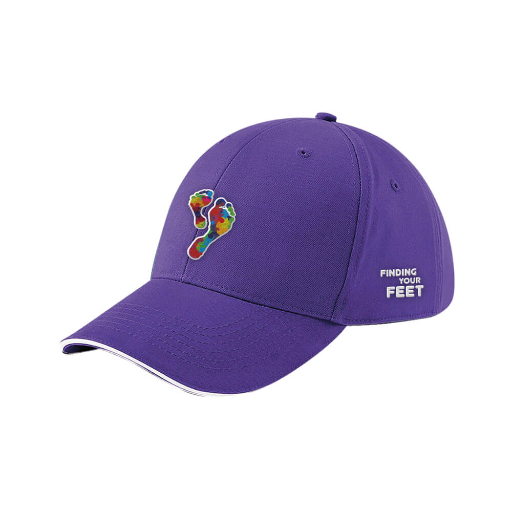 finding your feet embroidered baseball cap purple