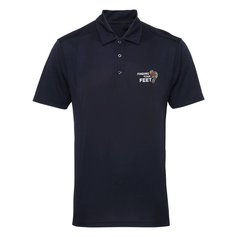 finding your feet performance polo shirt
