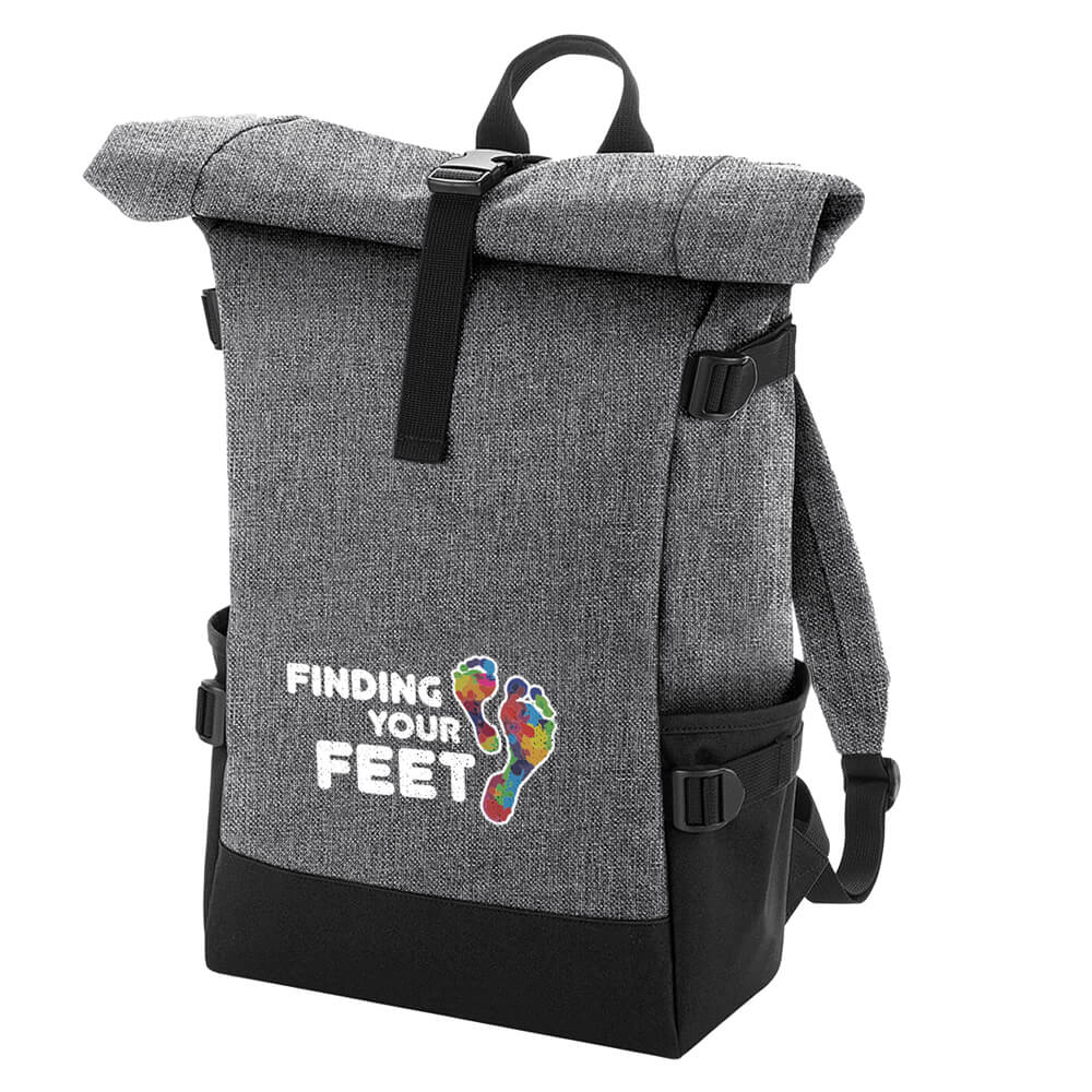 finding your feet roll top backpack