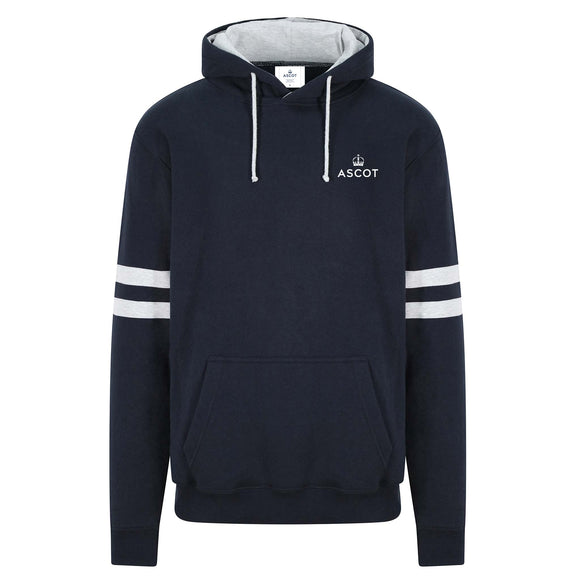 Ascot Mens 'The Place To Be' Striped Sleeve Hoodie Navy/White