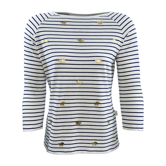 Royal Ascot Ladies L/S Horse Striped T-Shirt Navy/White