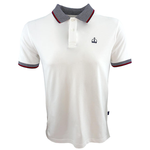Ascot Mens Contrast Crown Polo Shirt White/Navy