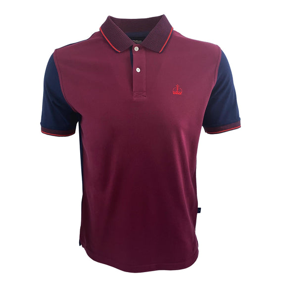 Ascot Mens Contrast Crown Polo Shirt Burgundy/Navy