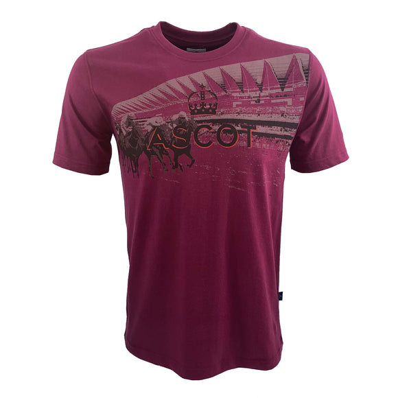 Ascot Mens Stadium T-Shirt Burgundy
