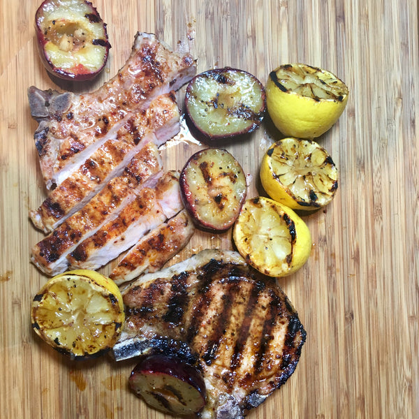 Grilled Pork, plums and lemons with Sweet Inferno