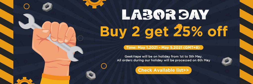 geekvape labor day deal buy 2 get 25% off