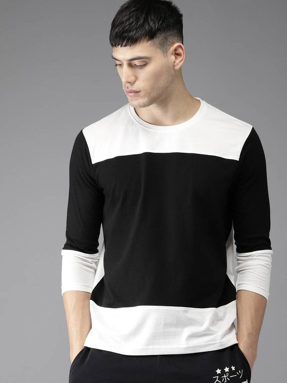 Full Sleeve Black & white T-shirt - YoVibe