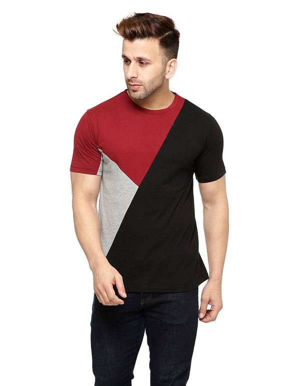 Round Neck Black and Red Tshirt - YoVibe