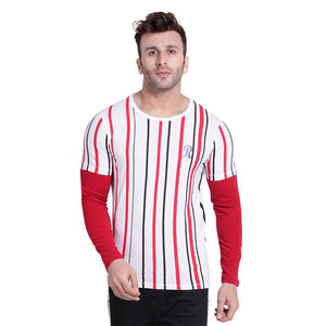 Red Striped Round Neck Tees - YoVibe