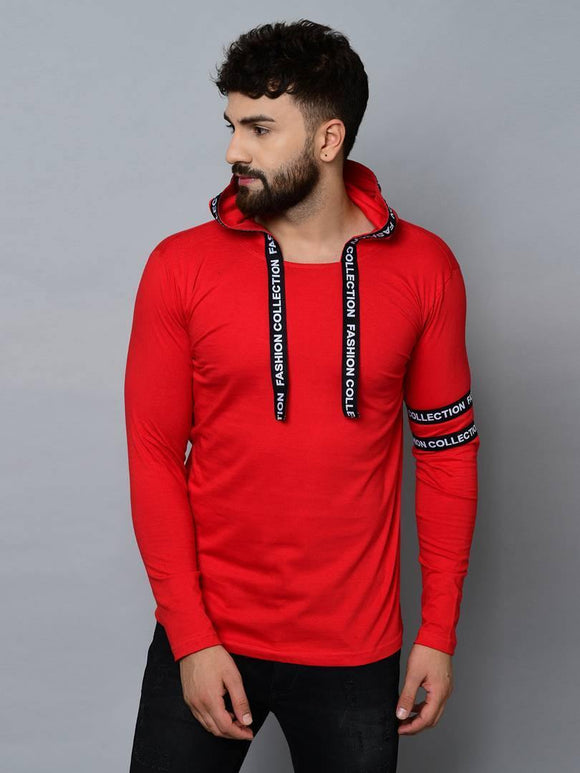 Men's Red Cotton  Hooded Tees - YoVibe