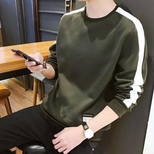 Green cotton blend Self Pattern Round Neck Tees - YoVibe