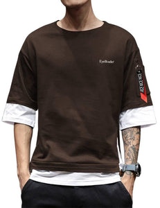 Colourblocked  Men's Brown Cotton Tees - YoVibe