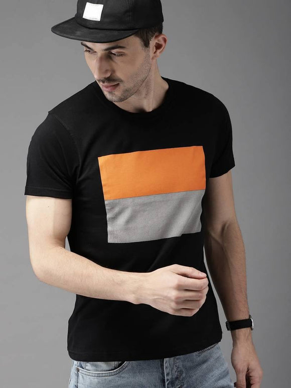 Orange & grey Box T-shirt - YoVibe