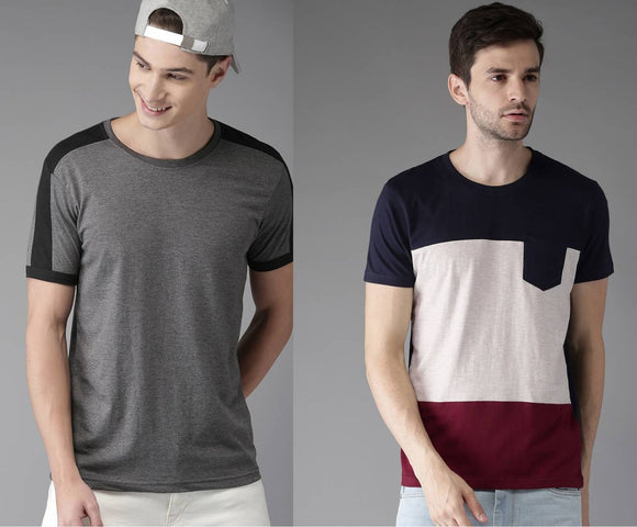 Elite Multicoloured Cotton Colourblocked Round Neck Tees For Men(Pack Of 2)