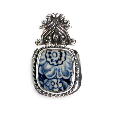 Liberty Blue Colonial Scenes Broken China Jewelry Floral Sterling Scroll Top Pendant