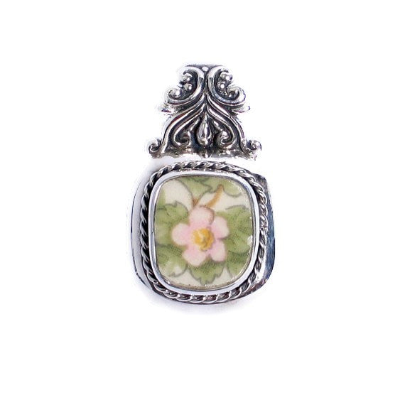 Broken China Jewelry - Spode Queens Ware - Pink Blossom Sterling Silver Pendant - Vintage Belle Broken China Jewelry