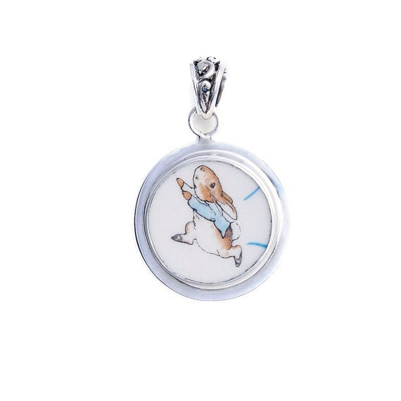 Broken China Wedgwood Beatrix Potter Peter Rabbit Running Sterling Pendant-A - Vintage Belle Broken China Jewelry