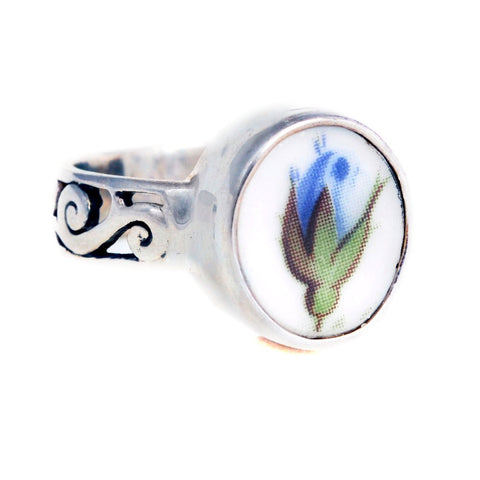 Size 8.5 Broken China Jewelry Moonlight Roses Blue Rose Rosebud Sterling Ring - Vintage Belle Broken China Jewelry