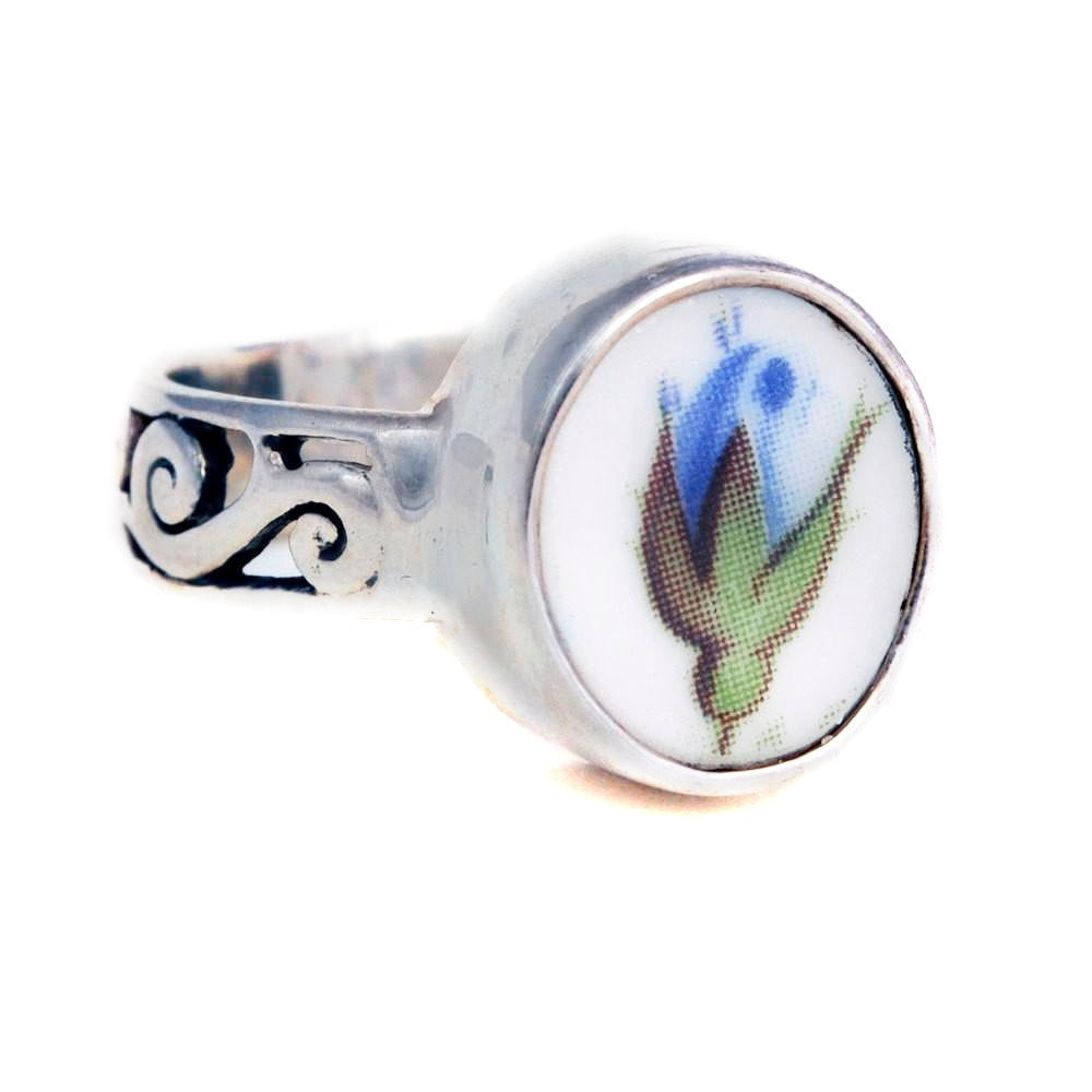 Size 9 Broken China Jewelry Moonlight Roses Blue Rose Rose Bud Sterling Ring - Vintage Belle Broken China Jewelry