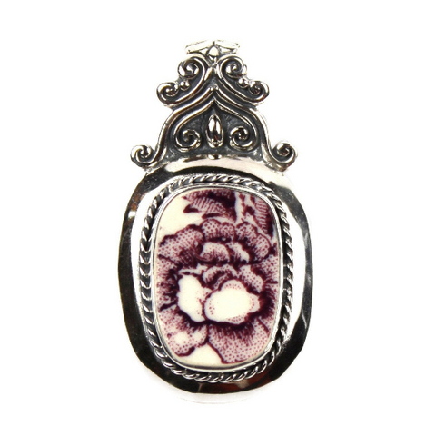 Broken China Jewelry Royal Staffordshire Purple Tonquin Flower Sterling Scroll Top Pendant