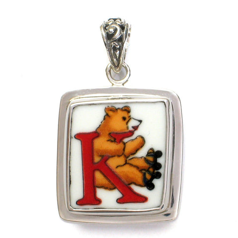 Broken China Jewelry Alphabet Monogram Bear Sterling Pendant- K