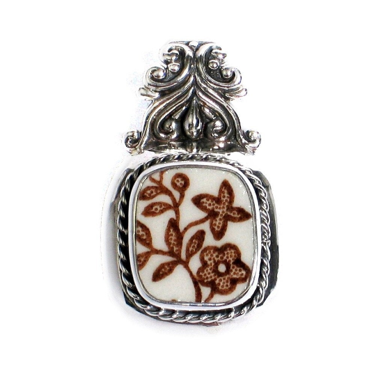 Broken China Jewelry Meakin Brown Tonquin Flowers Sterling Scroll Top Pendant