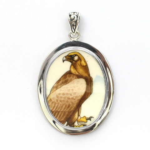 Broken China Jewelry Wedgwood Birds of Prey Golden Eagle Bird Sterling Pendant