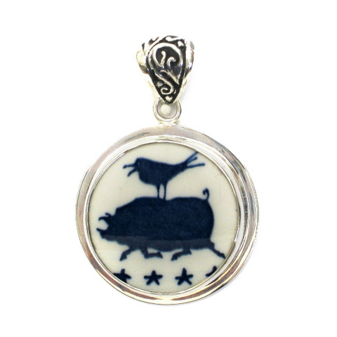 Broken China Jewelry Americana Folk Art Pig and Bird Sterling Circle Pendant