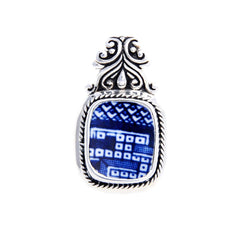 Broken China Jewelry Churchill Blue Willow Geometric Sterling Silver Pendant - Vintage Belle Broken China Jewelry