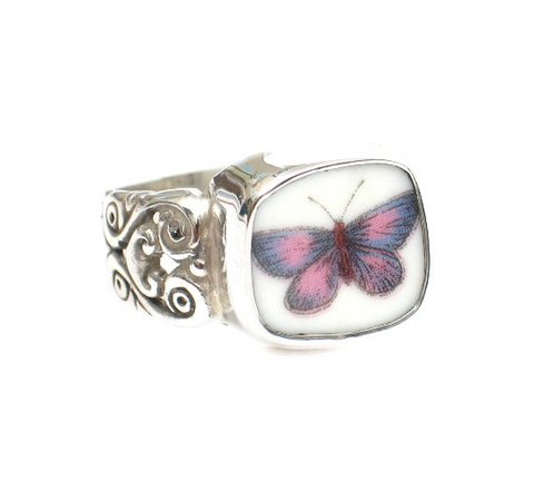 Size 8 Broken China Jewelry Portmeirion Botanic Garden Purple Butterfly Ring