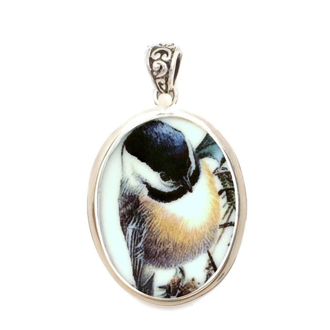 Broken China Jewelry Winter Greetings Chickadee Bird Sterling Oval Pendant