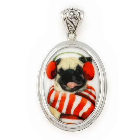Broken China Jewelry Pug Winter Dog in Earmuffs and Red/White Scarf Sterling Oval Pendant