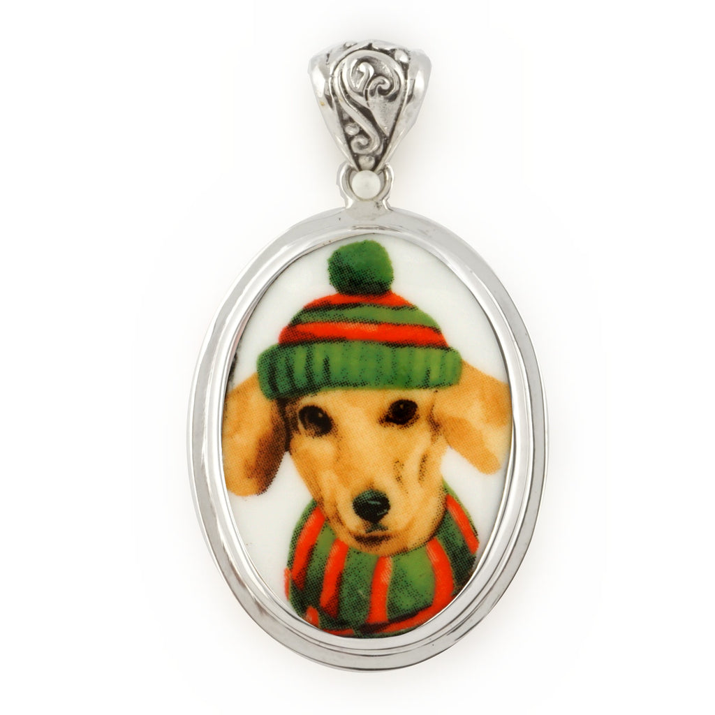 Broken China Jewelry Dachshund Winter Dog in Green Striped Hat & Scarf Sterling Oval Pendant