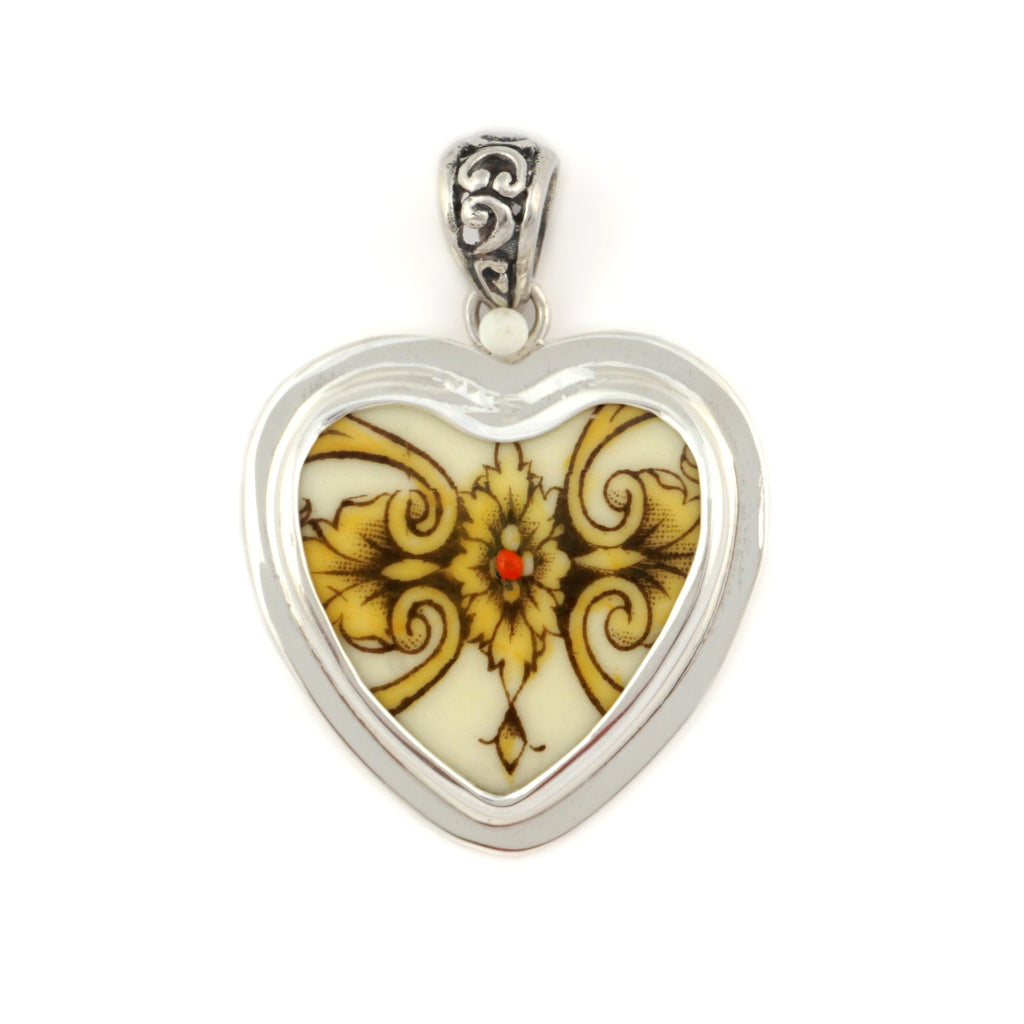 Broken China Jewelry Antique Crest Sterling Silver Pendant