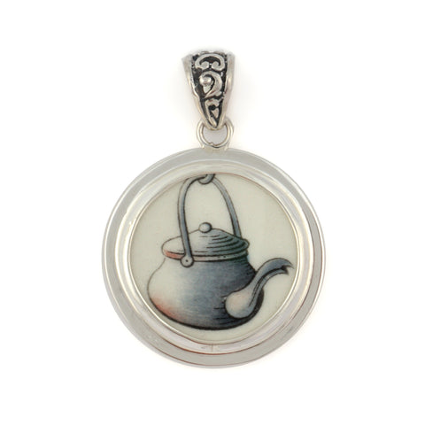 Broken China Jewelry Beatrix Potter Teapot from Peter Rabbit Plate Sterling Oval Pendant
