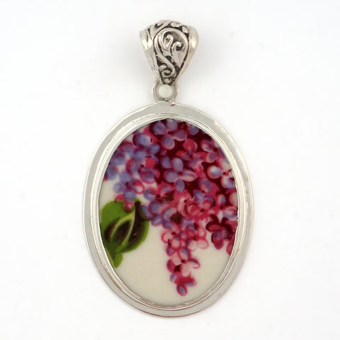 Broken China Jewelry Purple Lilac Flowers with Green Leaf Sterling Oval Pendant