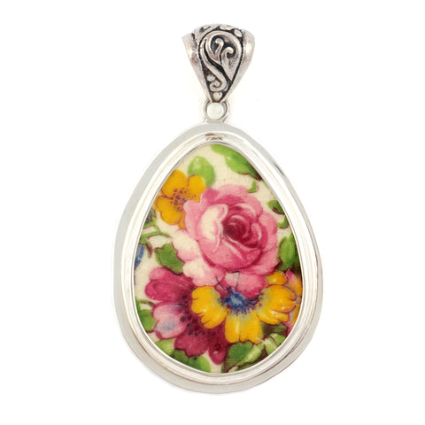 Broken China Grimwades Summertime Chintz Pink Rose Sterling Drop Pendant