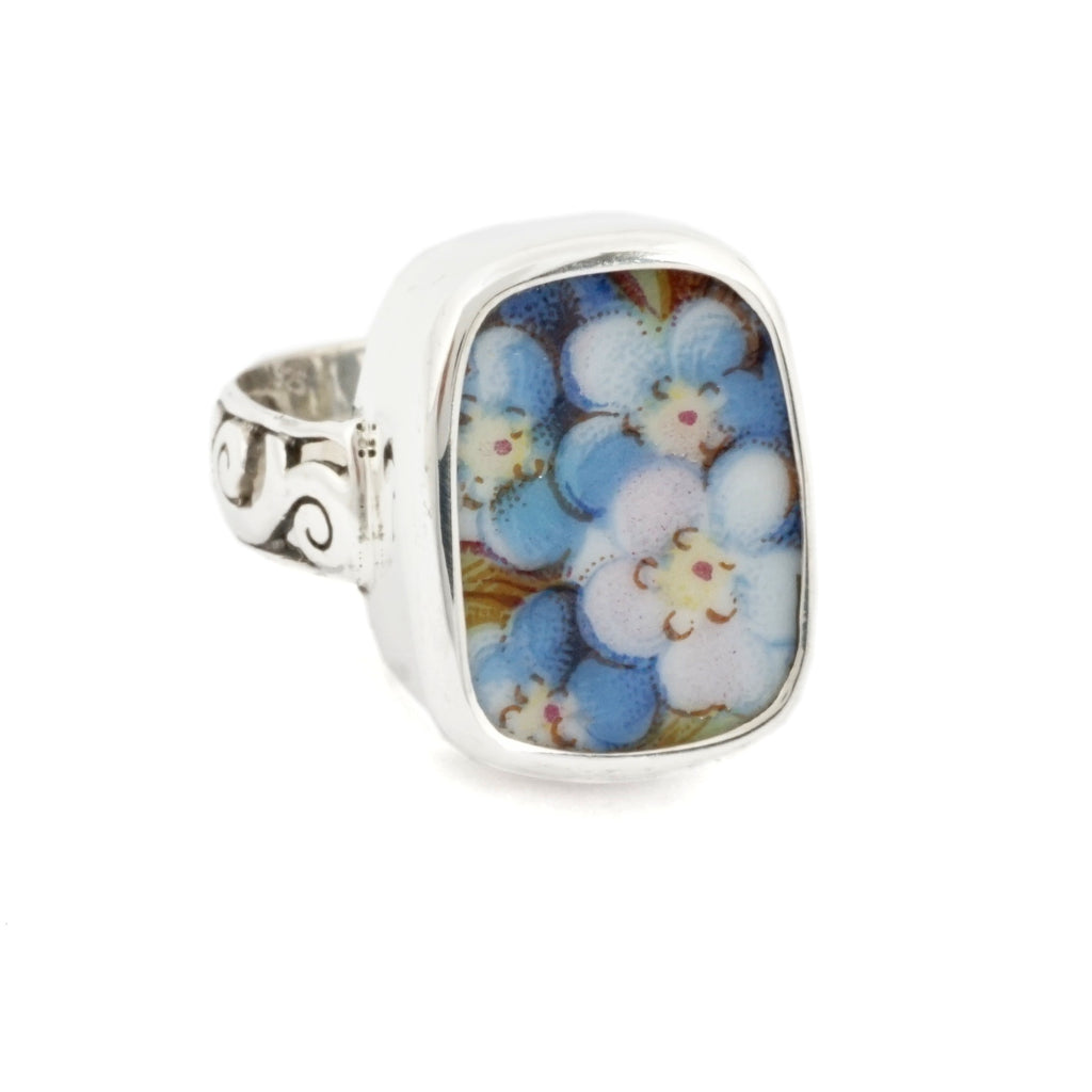 Size 9 Broken China Jewelry Blue Forget Me Not Flowers Sterling Ring