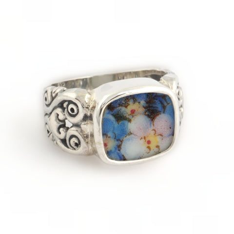 Size 6 Broken China Jewelry Blue Forget Me Not Flowers Carved Sterling Ring